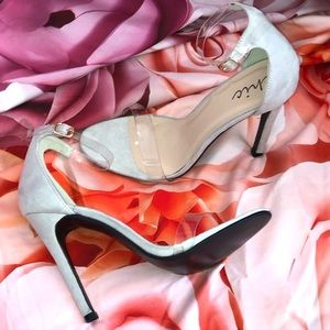 Light grey swade heels w clear straps